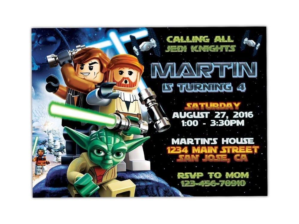 Lego Star Wars Birthday Party Invitations ANY AGE Custom