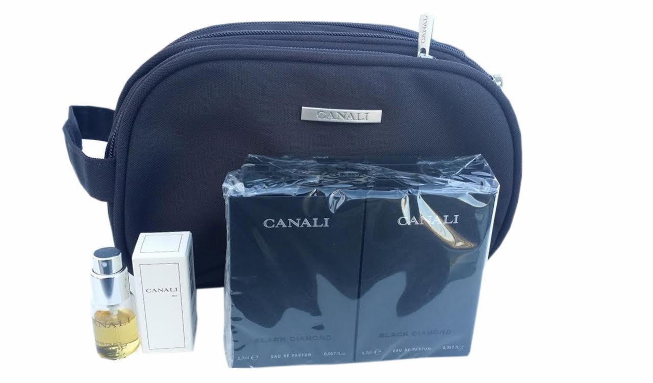CANALI BLACK DIAMOND set of 10 VIALS 1.7 ml, 1 MINI Canali EDT 5 ml and 1 Travel Pouch with 3 compartments and CANALI Logos Made in ITALY. Simply the BEST