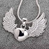 Vintage 925 Silver Heart Angel Wing Charm Pendant Necklace Women Jewelry