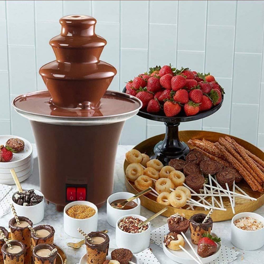 Fuente de chocolate de la m/áquina de Electirc chocolate fondue 3 Tier Fondue de acero inoxidable de calor y de motor Controles para la boda del partido,Marr/ón