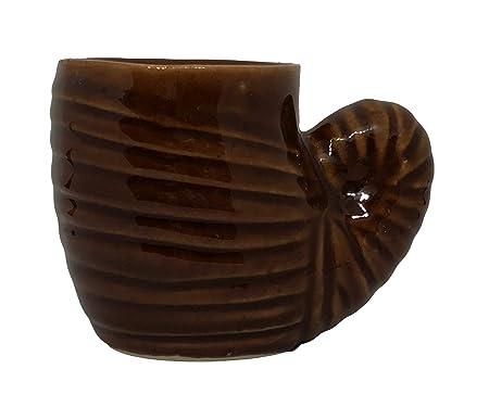 ShopMeFast Shank Shape Handcrafted Ceramic Pots Ceramic Planter for Indoor Plants/Planters,Home Decor,Garden Decor,Office Decor,Decorative Succulent Pot (Color: Dark Brown)(L:9 cm, W:14 cm, H:10 cm)