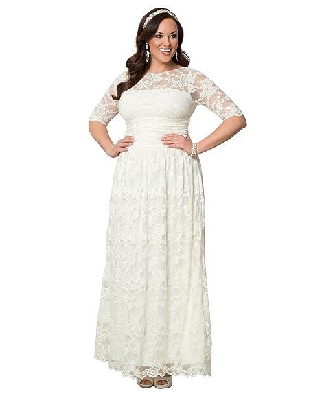 Kiyonna womens plus size lace illusion wedding gown at amazon kiyonna womens plus size lace illusion wedding gown 1x ivory junglespirit Images