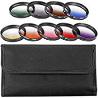 Neewer 52MM Complete Graduated Color Lens Filter Set (9pcs) for Camera Lens with 52MM Filter Thread - Includes: Red, Orange, Blue, Yellow, Green, Brown, Purple, Pink and Gray ND Filters + Filter Carry Pounch + Microfiber Lens Cleaning Cloth