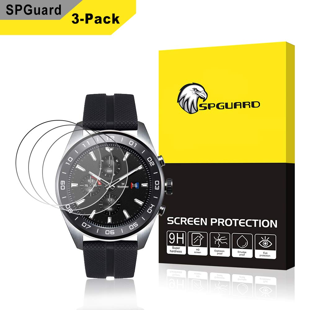 [3 Pack] SPGuard Compatible LG Watch W7 Watch Tempered Glass Screen Protector, Bubble Free Arc Edges Protector LG Watch W7/Gear Sport Smartwatch ...