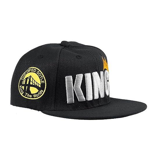 d3e80e6b916 Ma Baby Infant   Toddler Hip Hop Snapback Flat Brim Hats Lettre King Cap ( Black)