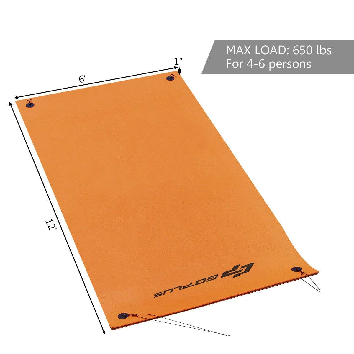 Goplus 12' x 6' Floating Water Pad for Lakes 3 Layer Floating Foam Mat Aqua Buoyancy Pad Designed for Water Recreation and Relaxing (Orange + Black) by Goplus (Image #9)