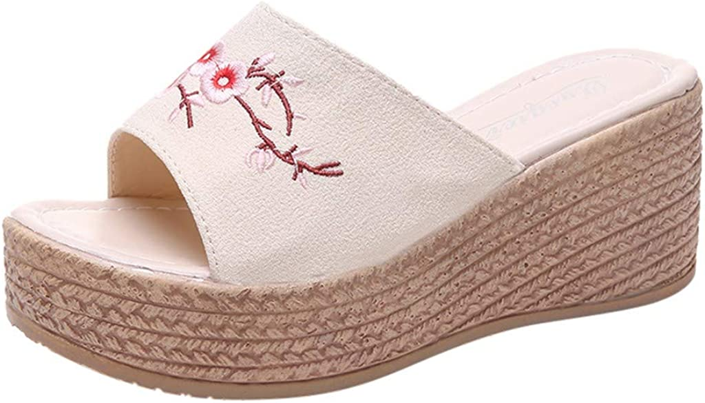 TANGSen Women Summer Retro Ethnic Wind Slippers Ladies Embroidery Flowers Woven Wedge Slippers Fashion Beach Shoes Beige