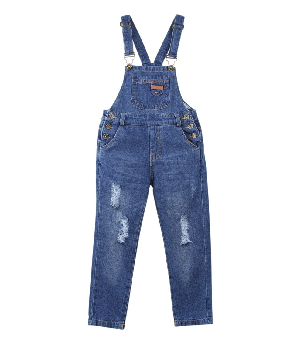 Tortor 1Bacha Kid Girls' Boys' Distressed Ripped Denim Bib Overall Blue 8-9 Years