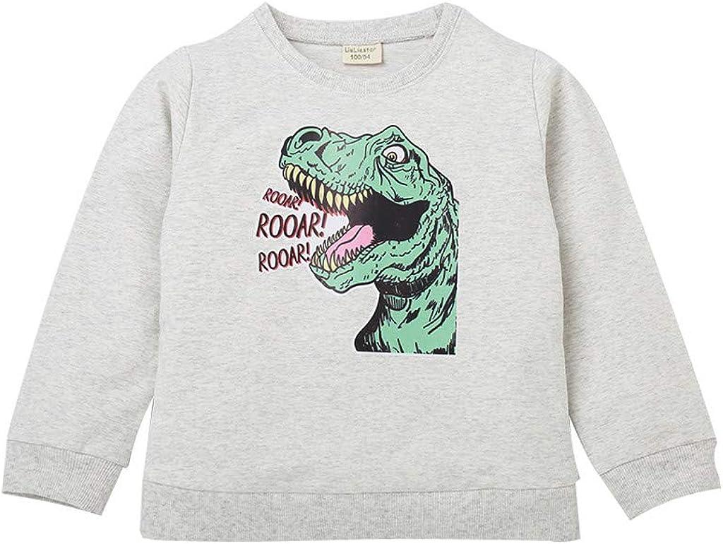 Yezijin Teen Kid Boys Girls Cartoon Dinosaur Letter Tops Sweatshirt Outwear Pullover for 1-7 Years Old