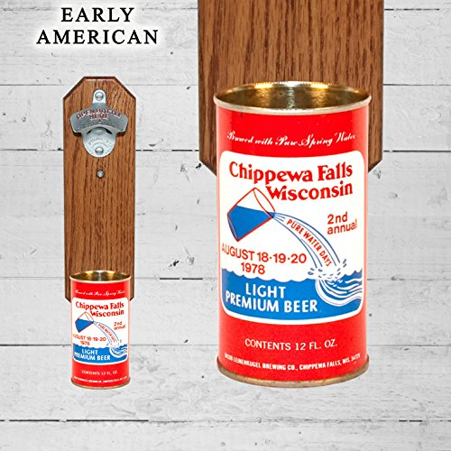 wall-mounted-bottle-opener-with-vintage-chippewa-falls-2nd-annual-wisconsin-beer-can-cap-catcher