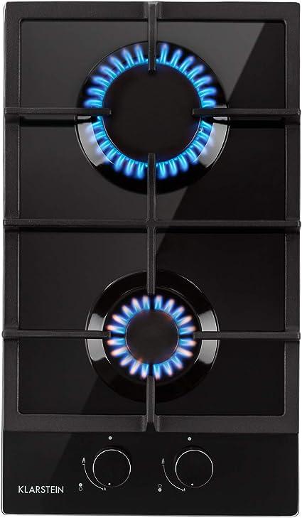 Klarstein Ignito Domino Placa de cocina - 2 fogones, Autárquico, 30 cm, Para montar, Quemador Sabaf, Gas natural/propano, Válvula de seguridad, ...
