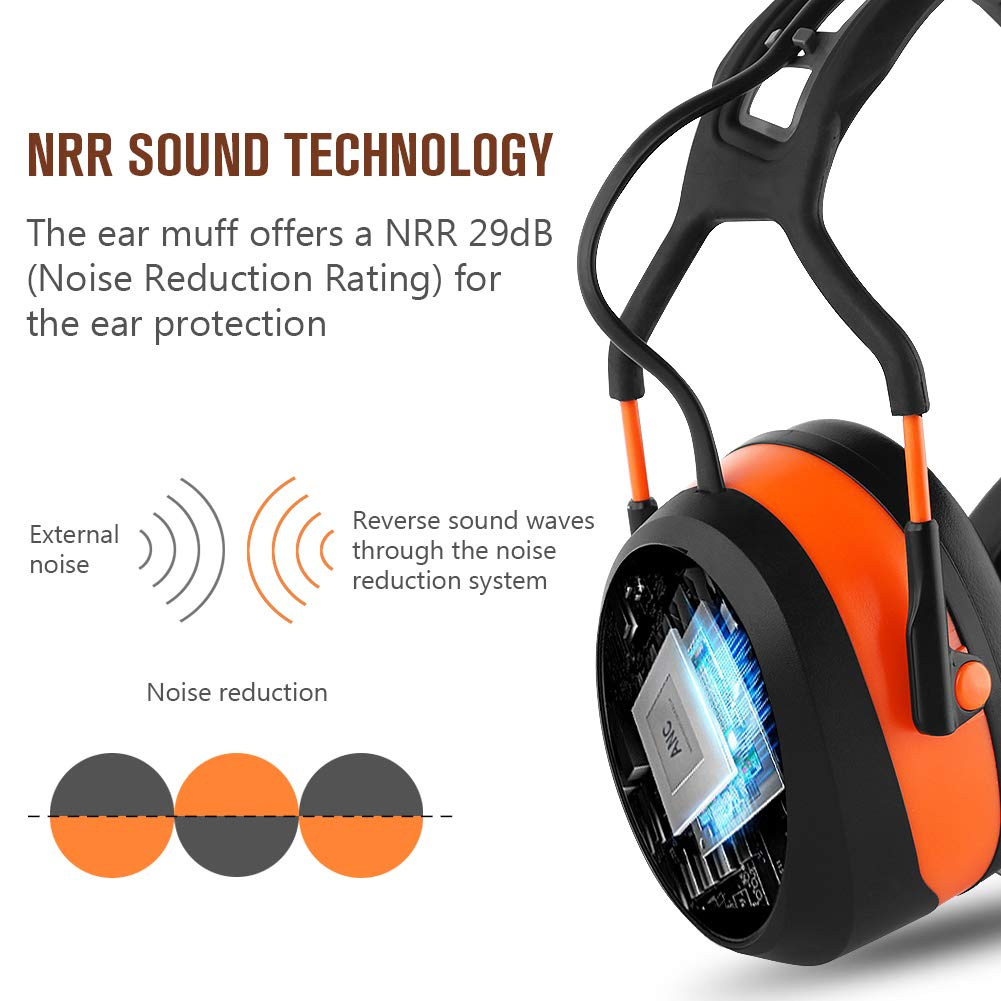 FM MP3 Bluetooth Radio Headphones Wireless Cancelling Headphones with 4GB SD Card Built-in Mic Electronic Noise Reduction Safety Ear Muffs Protection for Lawn Mower Work by WULFPOWERPRO by WULFPOWERPRO (Image #4)