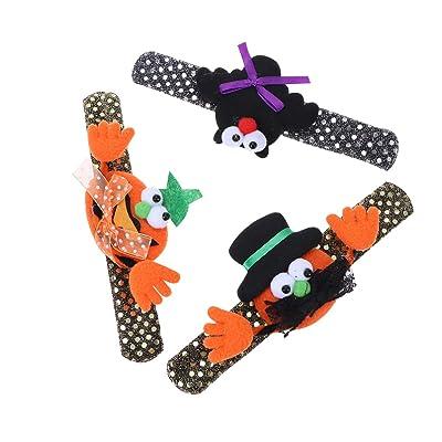 STOBOK Pulseras de la palmada de Halloween Novedad decoración Pulseras Pulseras Regalo Fiesta favores para niños niños - 3 Piezas: Juguetes y juegos