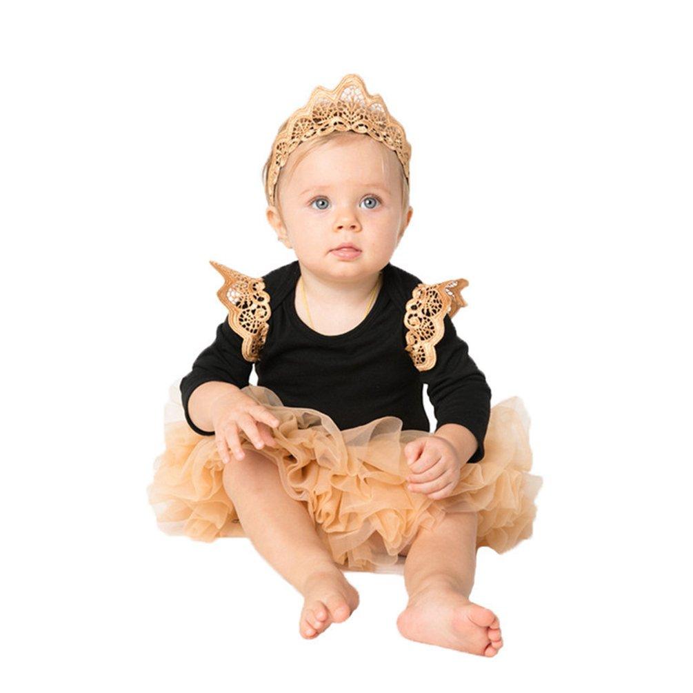 Sronjn Halloween Neonata angelo Vestito Cotone Tutu Pagliaccetto a con fascia per Bambina
