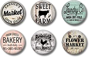 FARMHOUSE MAGNETS - Set of 6 - Fridge Magnets - Cute Whiteboard Magnets For Home School or Office (Farmhouse Set 1)