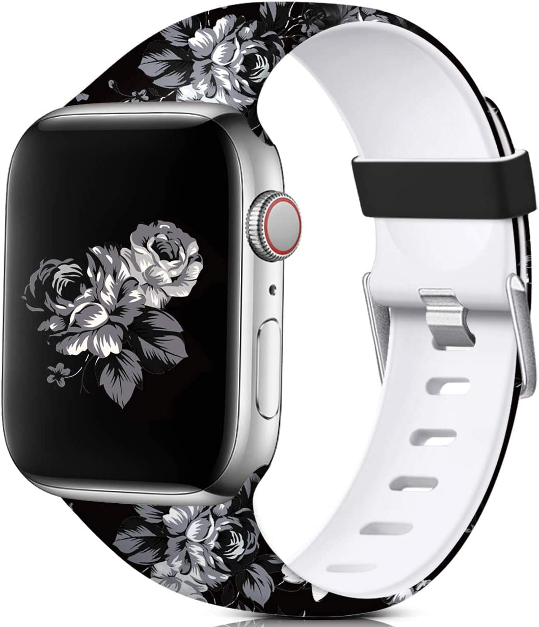 Nofeda Floral Bands Compatible with Apple Watch 40mm 38mm for Women Men, Soft Fadeless Pattern Printed Sport Band Replacement for iWatch Series 5,4,3,2,1, S/M, Gray Flower