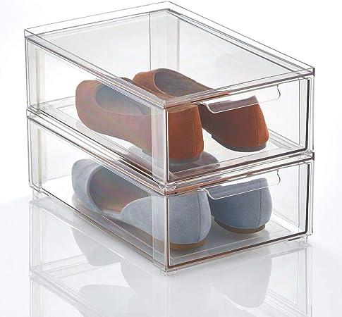 mDesign Caja de plástico transparente – Organizador de armarios apilable y plano con cajón extraíble – Caja para guardar zapatos, accesorios y otros objetos – Juego de 2 – transparente: Amazon.es: Hogar
