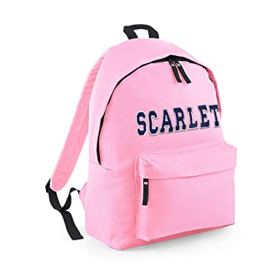8f94982a82 Image Unavailable. Image not available for. Colour  Personalised Backpack  For Kids. Pale Pink Bag - Blue Letters