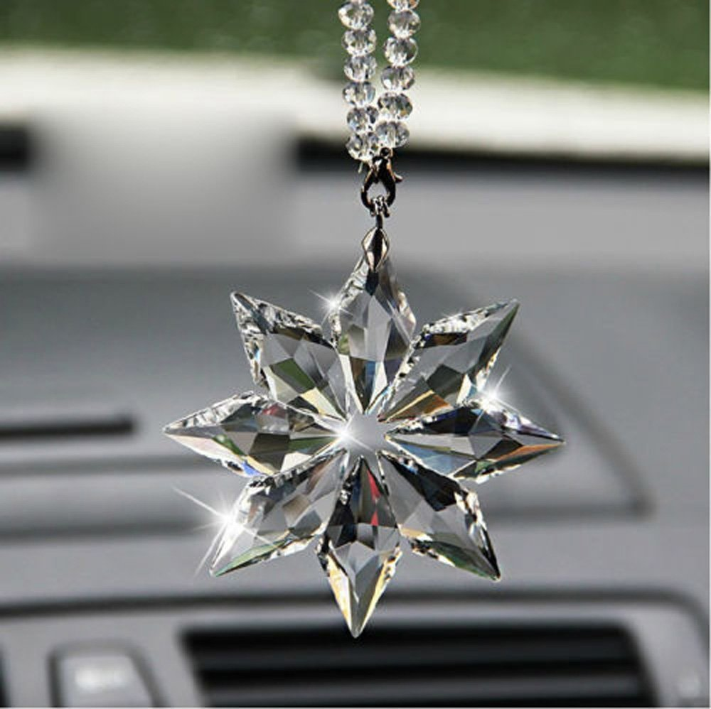 Transparent Color Follicomfy Car Rear View Mirror Ornament Car Pendant Crystal Snowflake Hanging Ornament Car Accessories