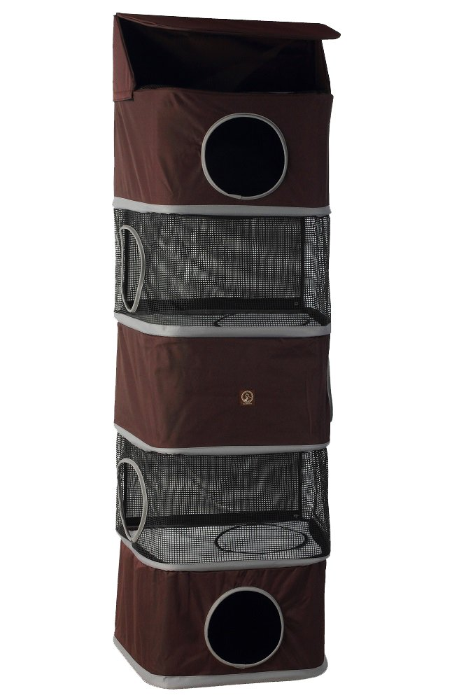 One for Pets 5-Storey All in One Portable Cat Activity Tower, Brown