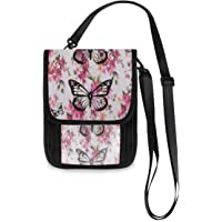 Travel Neck Wallet Butterfly Passport Holder Organized Travel Neck Pouch Crossbody Phone Bag for Women Men
