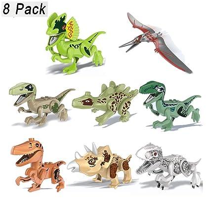 Kehome Dinosaur Toys Park,8 Pack Mini Dinosaur Action Figures Jurassic  World Bricks Toys Jurassic World Bricks Toys for Kids Boys Toddler  Educational