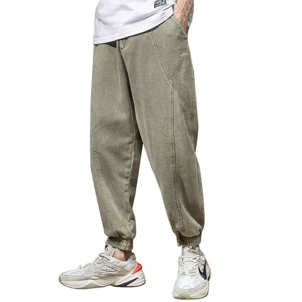 TIFENNY Sports Ankle-Length Pants for Men Summer Overalls Casual Pure Colour Comfortable Trousers Sweatpants Army Green