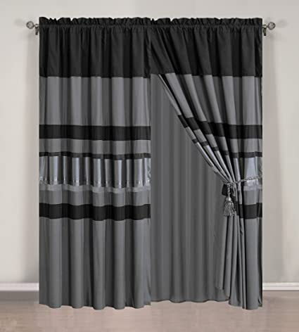 4 Piece Eggplant Grey / Black Silver Stripe Chenille Curtain Set With  Attached Valance And Sheers