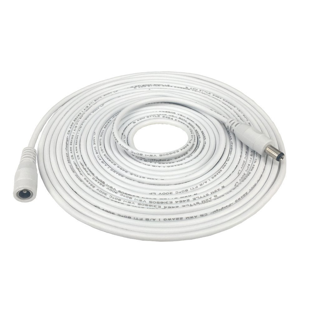 5m 16.4 ft 2.1mm x 5.5mm DC Plug Extension Cable for Power Adapter,12v dc extension,2.1mm extension, 22AWG, White