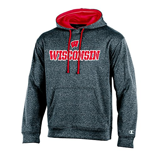 NCAA Wisconsin Badgers Adult Men Pullover Hood with Contra, Medium, Anthracite (Pullover Badgers Wisconsin)