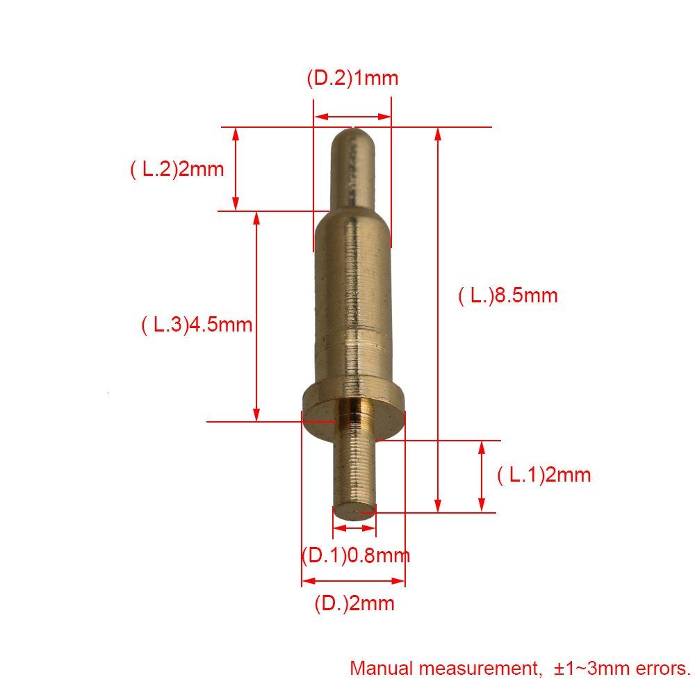 Yibuy 100 Piezas Chapado en Oro PCB Prueba Probes Pin Pogo Pin Conector 2 mm Pin
