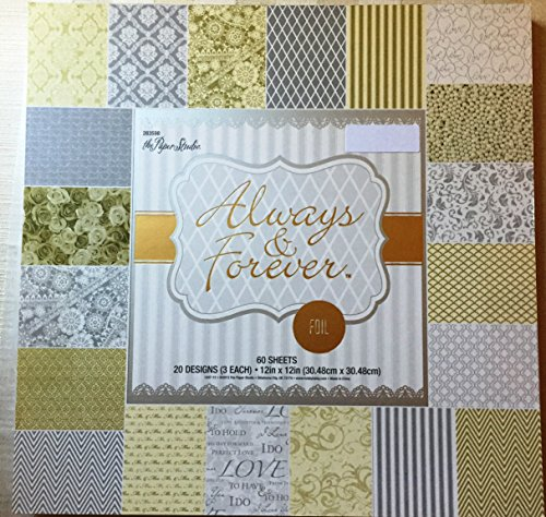 Swirl 12x12 Scrapbook Paper (Always & Forever 12x12 Foiled Silver,White, Gold Premium Wedding Cardstock Scrapbooking Paper Pad 60 Sheets)