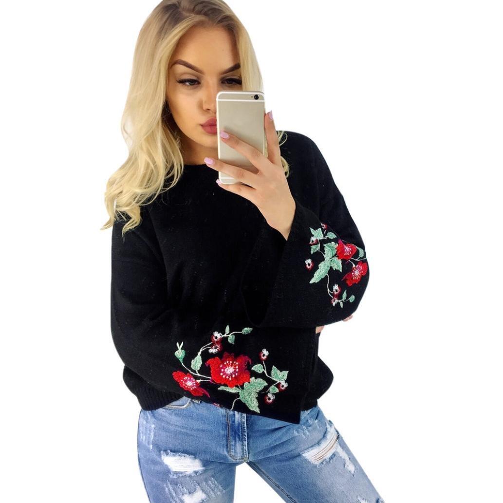 Amacok Fashion Women Embroidery Flowers Long Sleeve Knitwear Loose Outwear Tops Shirt Overcoat Cardigan (Black, XL)
