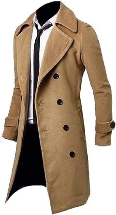 iLXHD Mens Turn Down Jacket Trench Coat Autumn Winter Long Overcoat
