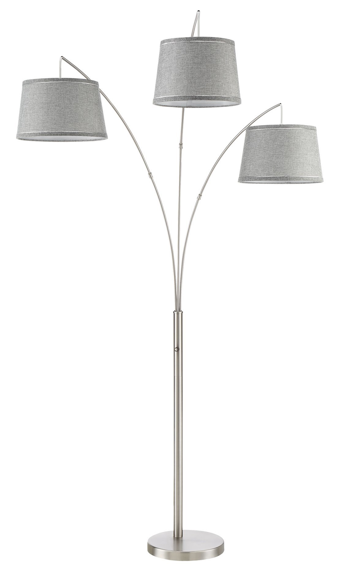 Revel Akira 78.5'' Modern 3-Light Arc Floor Lamp with 4-Way Switch, Gray Burlap Shades + Brushed Nickel Finish (May include stains/blemishes) by Revel
