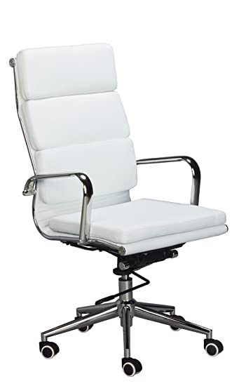 Amazon.com : Eames Replica High Back Office Chair - WHITE Vegan ...