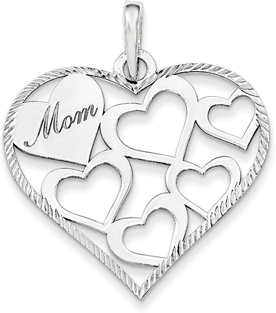 .925 Sterling Silver & Textured 'Mom' Engraved Heart Charm Pendant