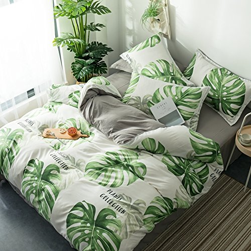 KFZ Hydro Cotton Bed Set (Twin Full Queen King Size) [4 Piece: Duvet Cover, Flat Sheet, Pillow Cases] No Comforter DL Banana Pant Leaf Dream Cloud Sheet Sets (Plant Leaf, Green, Queen 78