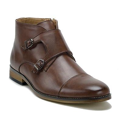 f0acb8a6fce58 Men s VW315 Ankle High Double Monk Strap Cap Toe Dress Boots