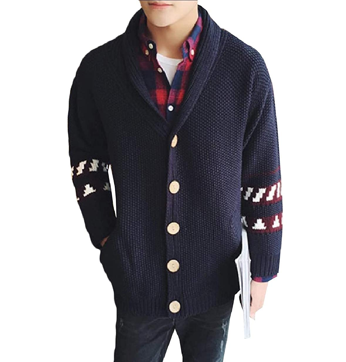 Tootless-Men Leisure Shawl Collar Knit Vintage Cardigan Top Sweater Jumper