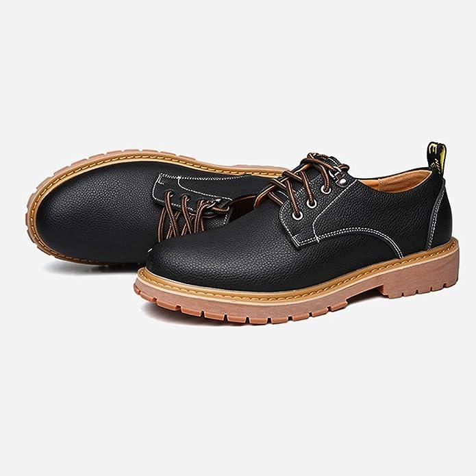 Easy Go Shopping Chaussures en Cuir pour Hommes en Cuir PU Casual Lace Up Big Appartements à Semelle Souple pour Les Messieurs Chaussures de Sport en Cuir pour Hommes (Color : Black, Size : 5.5 UK)