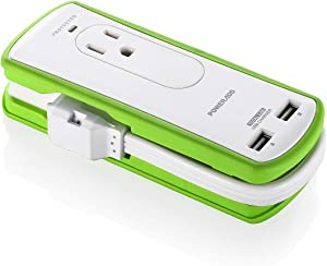 Power Strip with USB, POWERADD Mini Travel Power Strip Surge Protector with 2 AC outlet & 2 Smart USB Charging Ports, Wrapped Extension Cord with Flat Plug - UL Listed