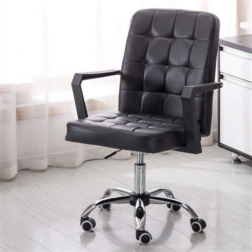 Konstläder hem kontor dator skrivbordsstolar svängbar pall stol rullar, 8 cm justerbar höjd, vit, färgnamn: Knästol (färg: svart) Svart
