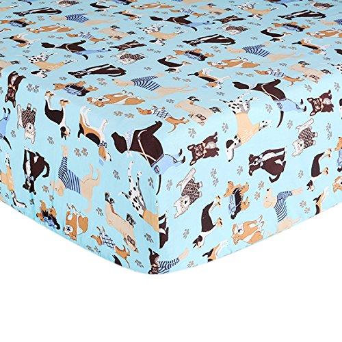 Crib Sheet Toddler Sheet 1 Pack 100% Cotton for Baby boy Dog Pattern Crib Sheet by UOMNY