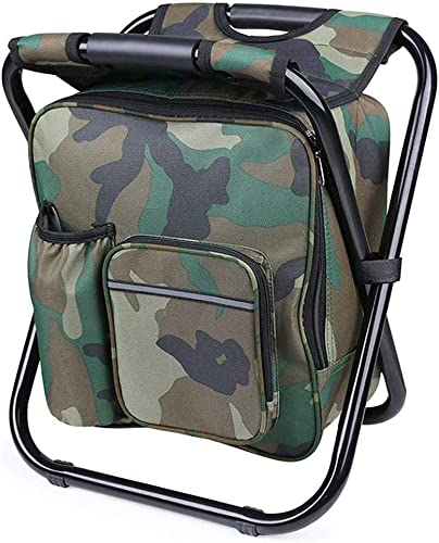 Fishing Backpack Chair, Portable Camping Stool, Foldable Solid Construction Camping Chair with Double Layer Oxford Fabric Cooler Bag for Fishing, Beach, Camping, House and Outing Camouflage