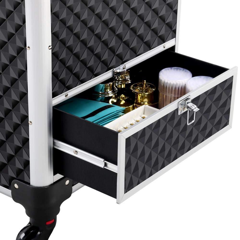 Yaheetech Aluminum Cosmetic Case Rolling Makeup Train Case  360Degree Rolling Wheels Barber Salon