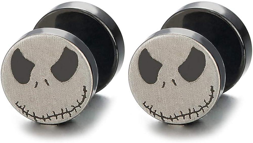 2pcs Men Women Steel Silver Black Little Monster Circle Stud Earrings, Cheater Fake Ear Plugs Gauges