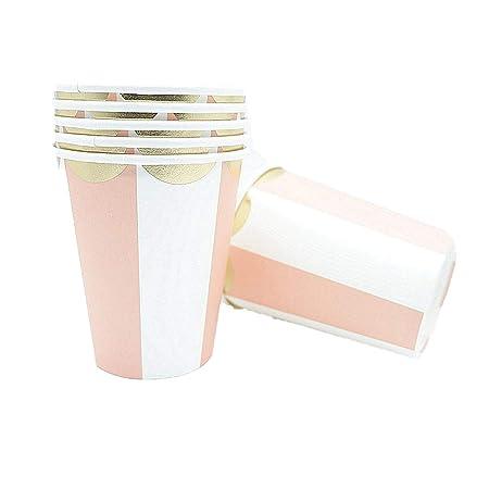 Juego de vajilla desechable de rayas rosas, platos de papel ...