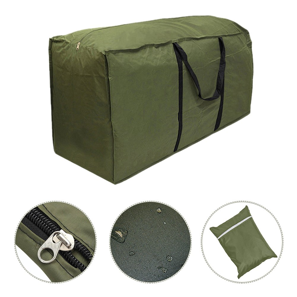 Fastar Outdoor Waterproof Lightweight Garden Furniture Cushion Storage Bag Carry Case with Handle Army Green