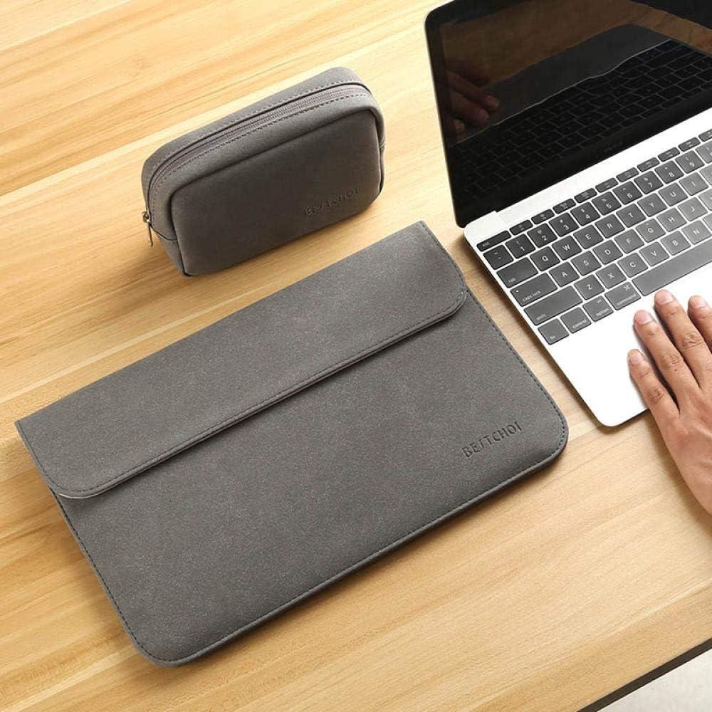 GUODLIN Matte PU Leather Sleeve Waterproof Laptop Bag Unisex Bags Set Dark Gray//Set Pink Color : Set Dark Gray, Size : 14INCH
